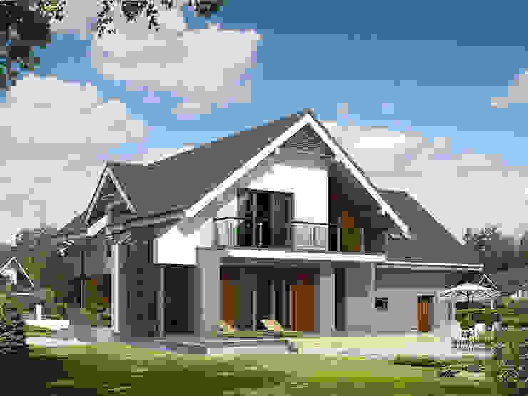 Elewacja ogrodowa projektu Jaspis 6: styl , w kategorii Domy zaprojektowany przez Biuro Projektów MTM Styl - domywstylu.pl,
