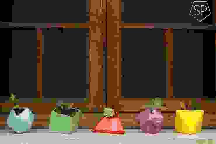 Macetas de cerámica: Jardines de estilo  por Sólido Platónico