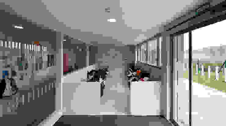 Nursery School, Zarautz. Buggy area Ignacio Quemada Arquitectos Modern corridor, hallway & stairs White