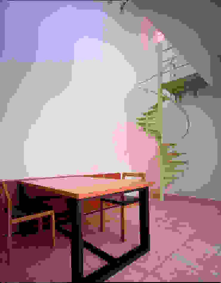 食堂と2階のリビングをつなげるミニマム鉄骨螺旋階段 モダンデザインの ダイニング の Guen BERTHEAU-SUZUKI Co.,Ltd. モダン