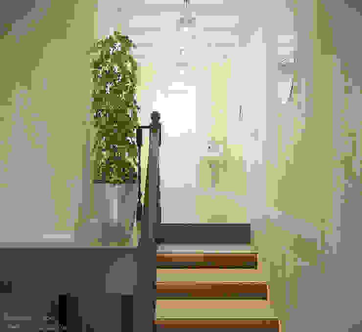 Дизайн лестницы в стиле кантри в частном доме по ул.Российской Коридор, прихожая и лестница в модерн стиле от Студия интерьерного дизайна happy.design Модерн