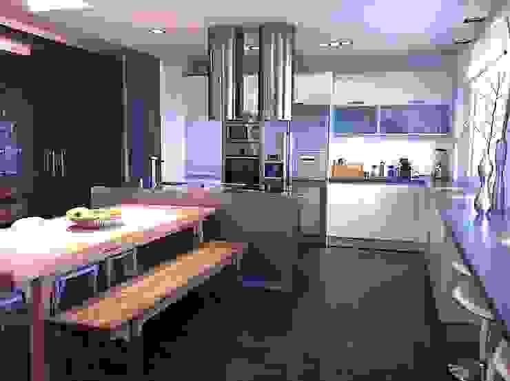 villa en el limonar malaga Cocinas de estilo moderno de Architect Hugo Castro - HC Estudio Arquitectura y Decoración Moderno
