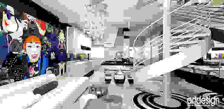salon i kuchnia Nowoczesny salon od ARTDESIGN architektura wnętrz Nowoczesny