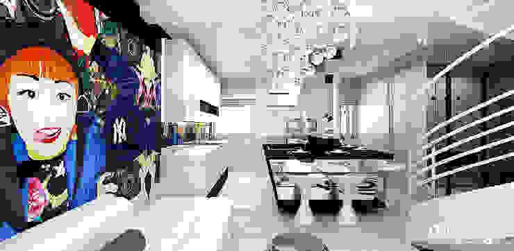otwarta kuchnia w apartamencie Nowoczesna kuchnia od ARTDESIGN architektura wnętrz Nowoczesny
