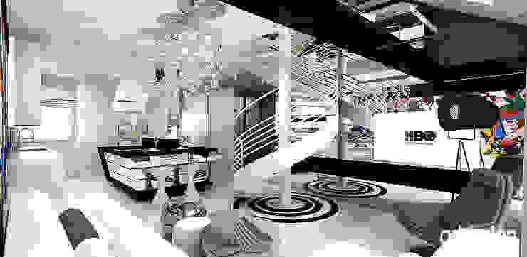 nowoczesne wnętrze apartamentu - salon z otwartą kuchnią Nowoczesny salon od ARTDESIGN architektura wnętrz Nowoczesny