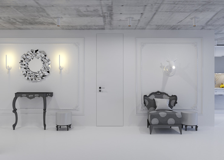 Couloir, entrée, escaliers minimalistes par 3D GROUP Minimaliste