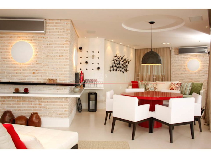 LX Arquitetura Modern Living Room Red