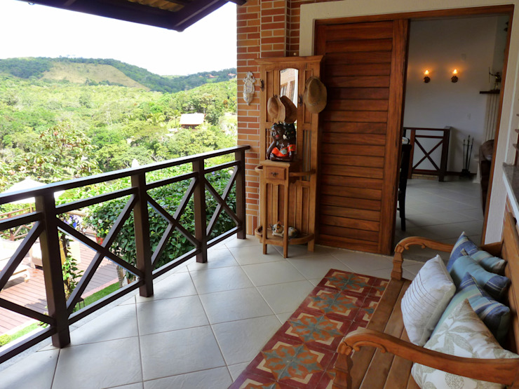 Varanda Varandas, alpendres e terraços campestres por Eveline Sampaio Arquiteta e Designer de Interiores Campestre