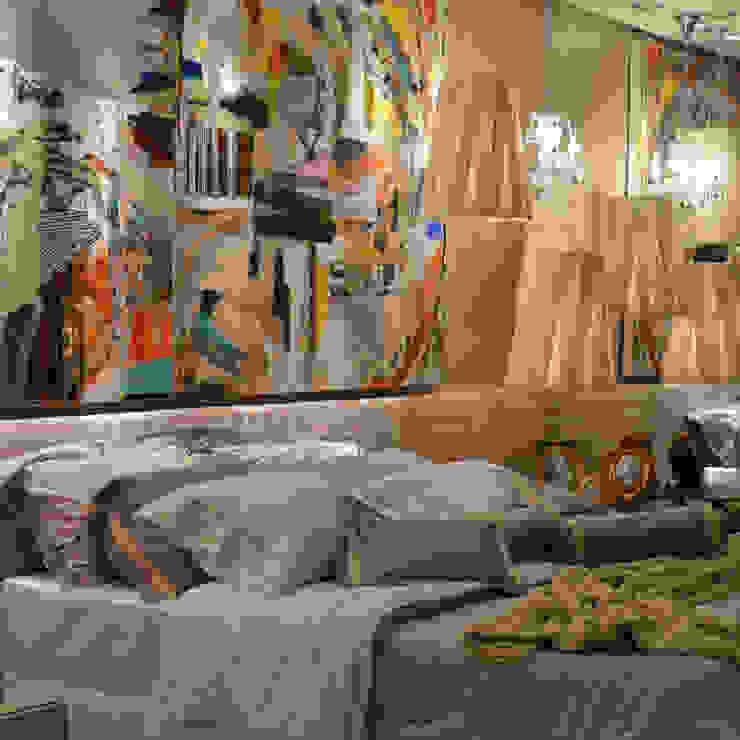 Casa Cor Santa Catarina 2013 Quartos modernos por ANNA MAYA ARQUITETURA E ARTE Moderno Têxtil Ambar/dourado