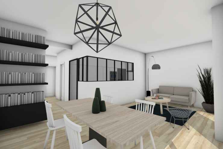 Vue de la cuisine avec sa verrière (Version 2) Cuisine moderne par Dem Design Moderne Fer / Acier
