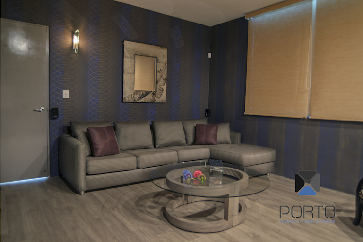 Eclectic style media rooms by PORTO Arquitectura + Diseño de Interiores Eclectic