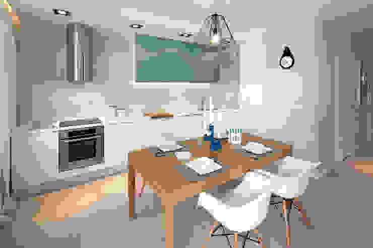 mieszkanie pokazowe 4 pokoje – apartamenty na polanie – Gdynia Minimalistyczna jadalnia od Anna Maria Sokołowska Architektura Wnętrz Minimalistyczny