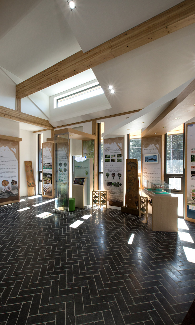 청태산국립자연휴양림 방문자안내센터 모던스타일 미디어 룸 by (주)나무아키텍츠 건축사사무소 모던