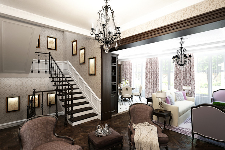 Classic style corridor, hallway and stairs by Творческая мастерская дизайна интерьера Анны Першаковой Classic