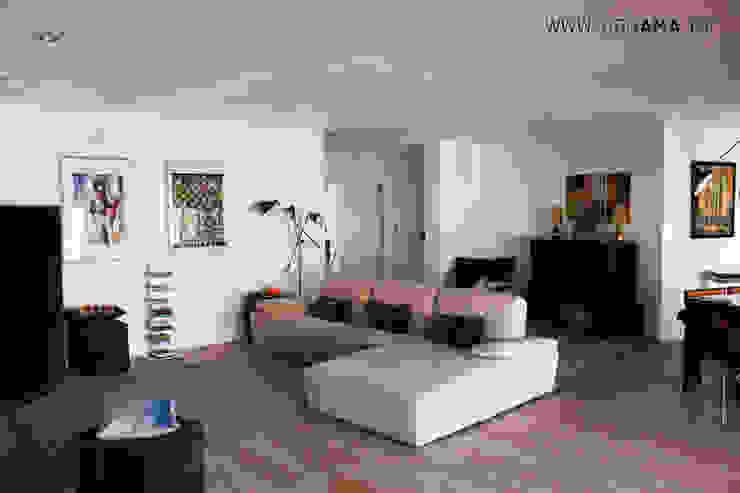 Living room by ARQAMA - Arquitetura e Design Lda, Scandinavian
