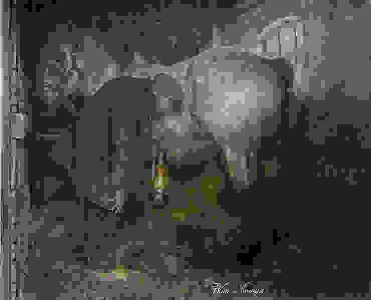 Controle van de drachtige trekpaardmerrie van Wim Romijn Art Landelijk Papier