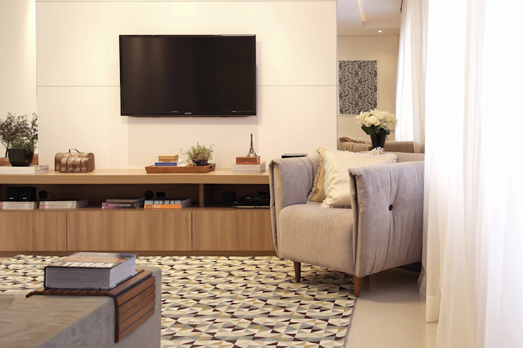 Amanda Carvalho - arquitetura e interiores Ruang Keluarga Modern