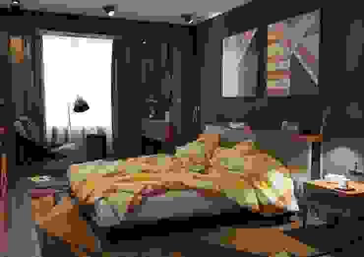 Дизайн интерьера 2-ком. квартиры в Днепропетровске Спальня в стиле лофт от GP-ARCH Лофт