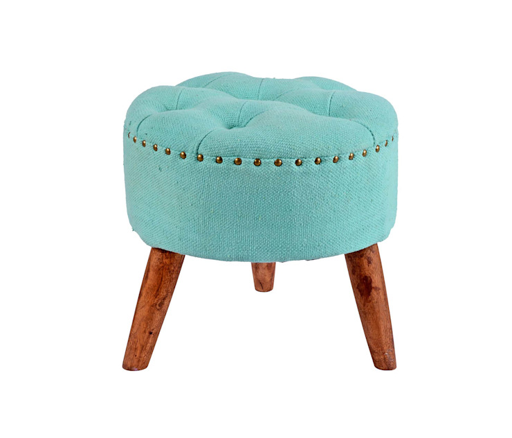 Tufted Wooden Stool: modern  by Natural Fibres Export,Modern Cotton Red