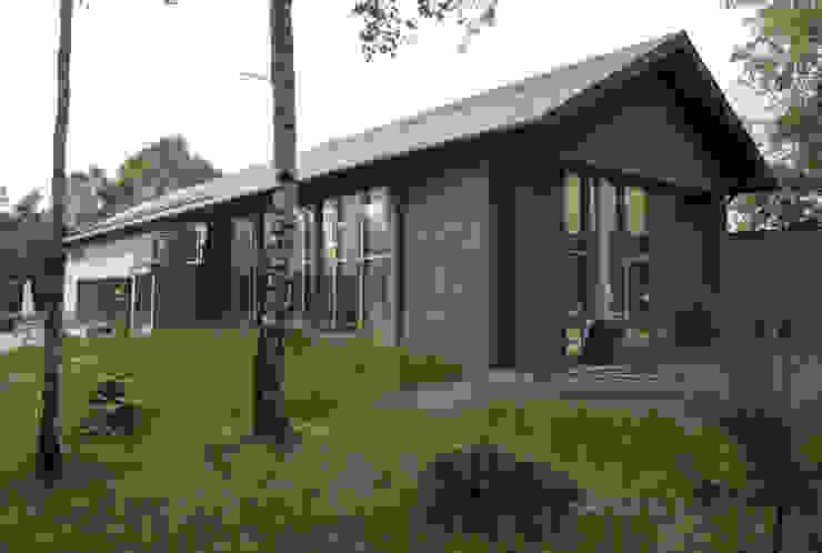 WIDOK BUDYNKU OD STRONY BASENU : styl , w kategorii Domy zaprojektowany przez Biuro Studiów i Projektów Architekt Barbara i Piotr Średniawa,Minimalistyczny