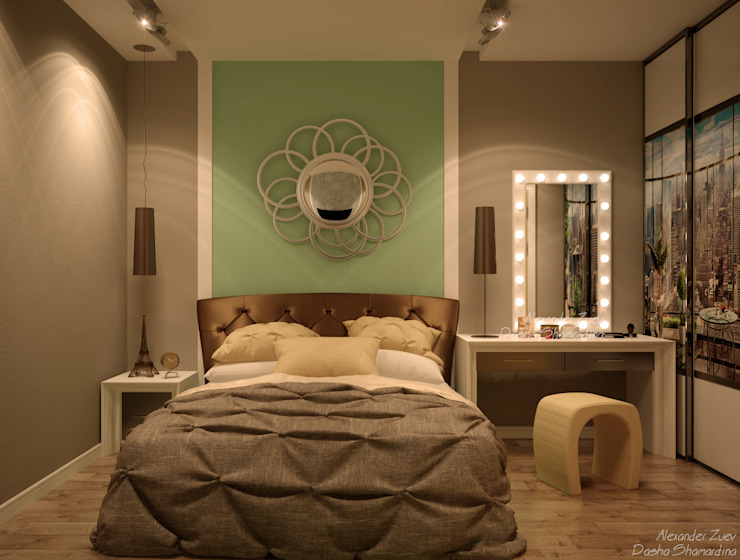 """Дизайн спальни в современном стиле в ЖК """"Панорама"""" Спальня в стиле модерн от Студия интерьерного дизайна happy.design Модерн"""