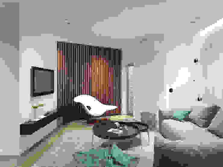 12 квартал Гостиная в стиле минимализм от Y.F.architects Минимализм