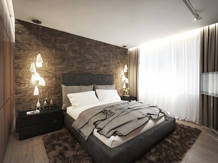 12 квартал Спальня в стиле минимализм от Y.F.architects Минимализм