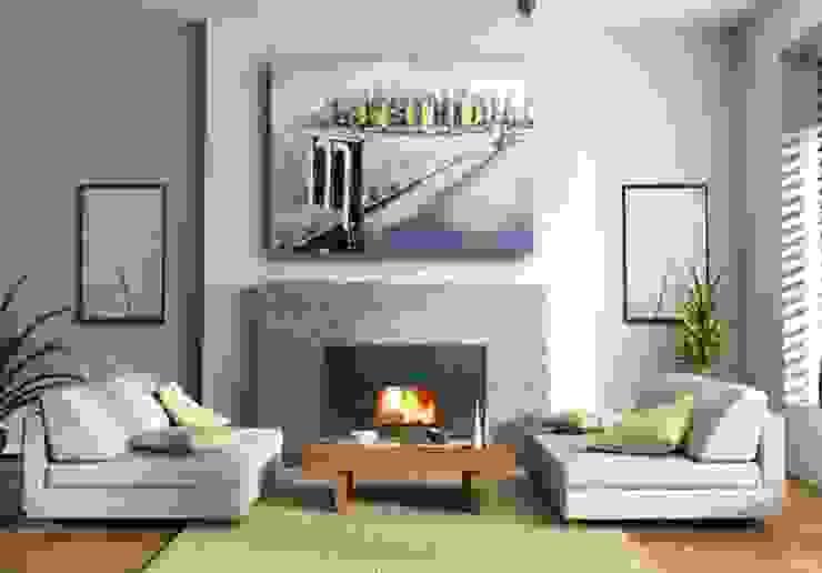 Oil Painting - Brooklyn Bridge in New York - signed - M. Klein: modern  by Kunst & Ambiente - Bronzefiguren / Skulpturen Manufaktur, Modern Flax/Linen Pink