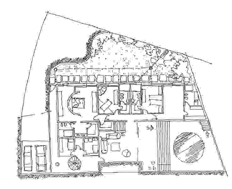 Planta do Pavimento Inferior por Carlos Bratke Arquiteto Moderno