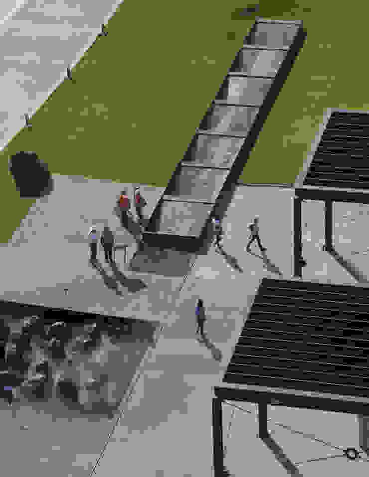 Fuente de canal y fuente de mist y rocas de acero Museos de estilo industrial de HARARI LANDSCAPE Industrial