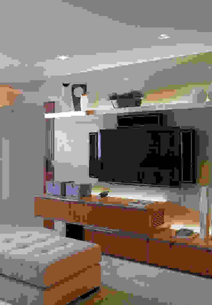 Apartamento Higienópolis Salas multimídia modernas por Marcelo Rosset Arquitetura Moderno