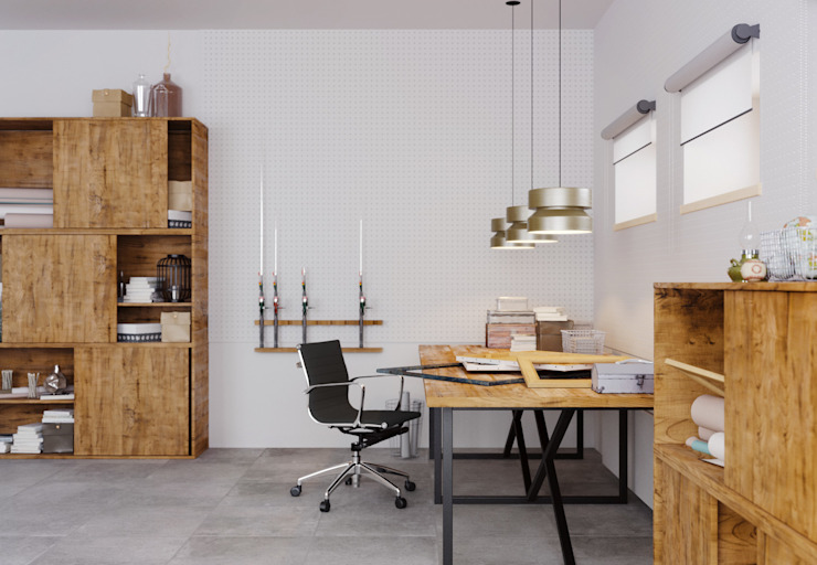 homify Industrial style study/office White