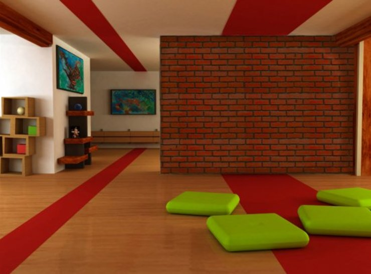 PANEL DECORATIVO MODELO LADRILLOS ROJOS EN MURO DIVISORIO Salas multimedia de estilo clásico de homify Clásico