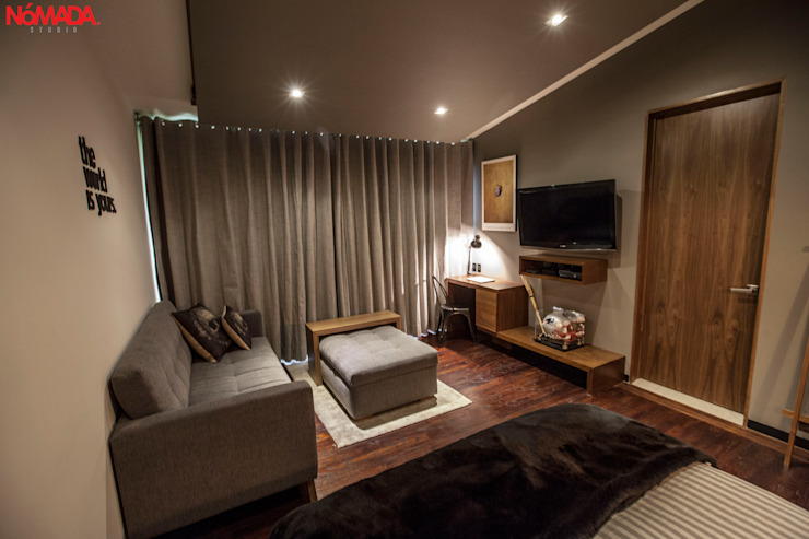 Casa Bosques de las Lomas, México Distrito Federal Dormitorios modernos de Nómada Studio Moderno Madera Acabado en madera