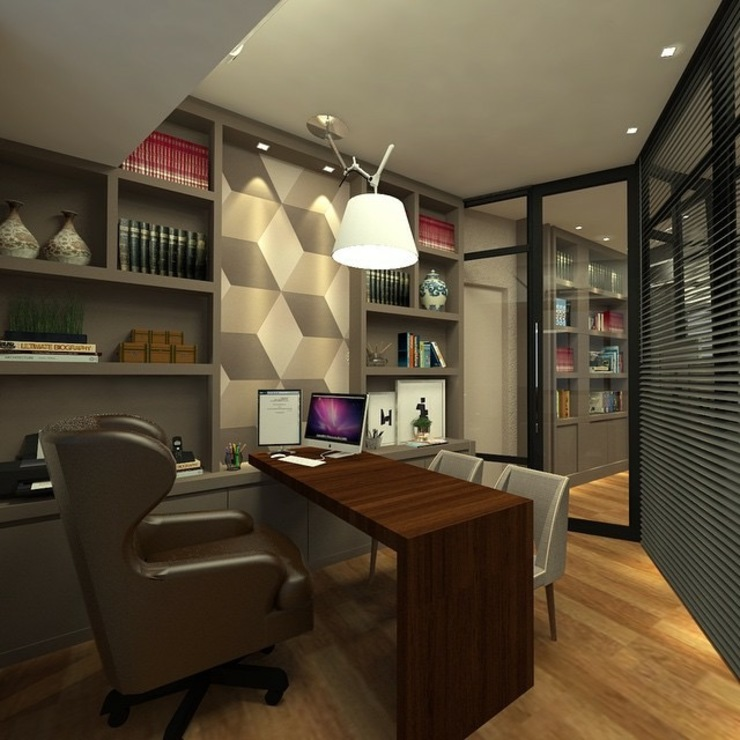 homify Modern study/office Wood Grey