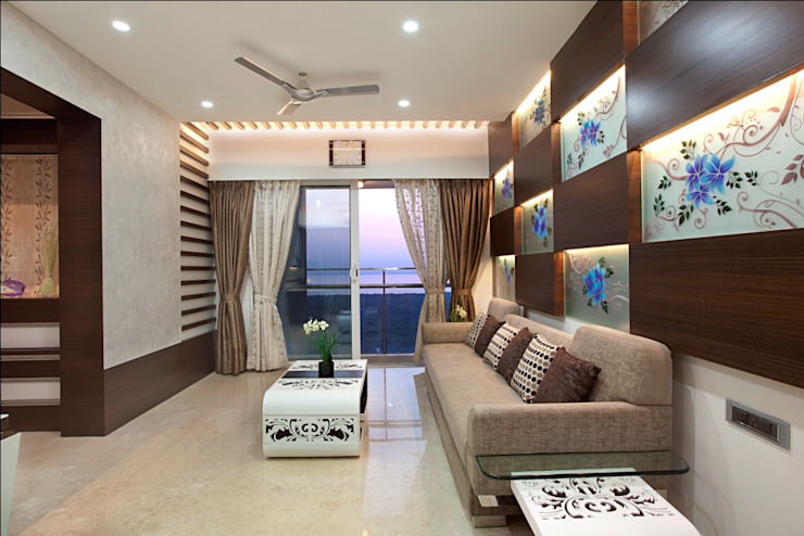INTERIOR DESIGNERS IN KHARGHAR Modern living room by DELECON DESIGN COMPANY Modern Plywood