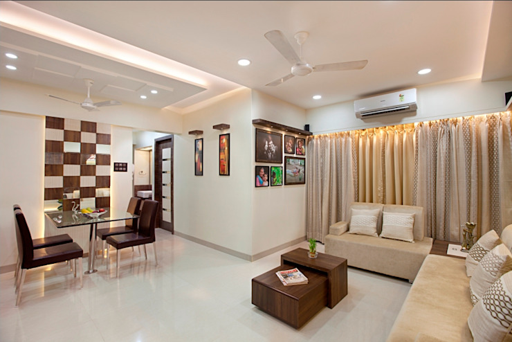 INTERIOR DESIGNERS IN KHARGHAR Minimalist living room by DELECON DESIGN COMPANY Minimalist Plywood