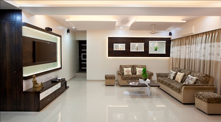 INTERIOR DESIGNERS IN KHARGHAR Classic style living room by DELECON DESIGN COMPANY Classic Plywood