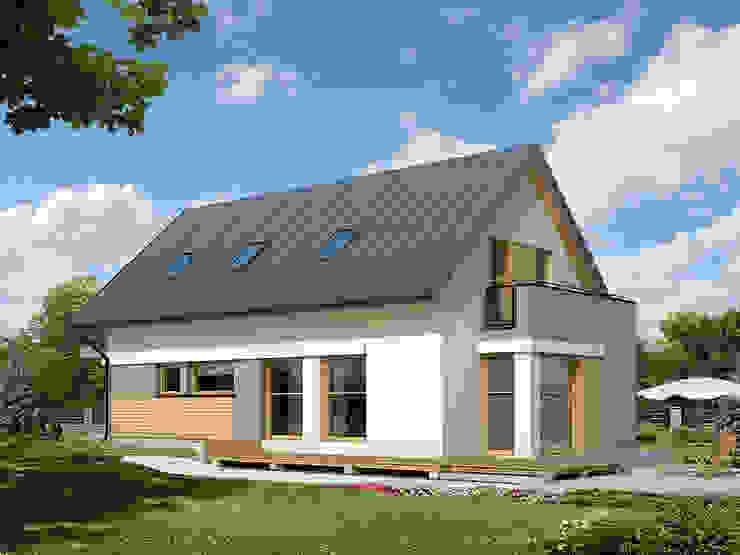 Elewacja ogrodowa projektu Amelia Nowoczesne domy od Biuro Projektów MTM Styl - domywstylu.pl Nowoczesny