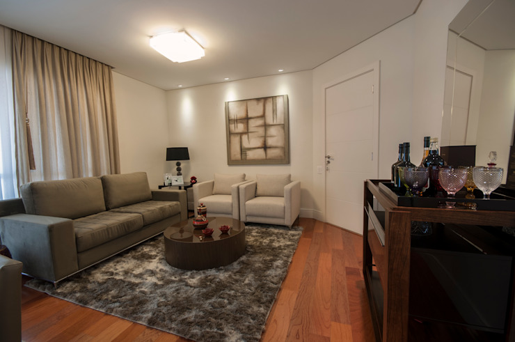 Apartamento Nova Petrópolis - São Bernardo do Campo Salas de estar modernas por Haus Brasil Arquitetura e Interiores Moderno