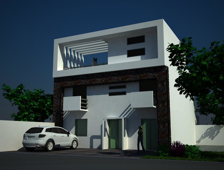 CASA HABITACION Casas modernas de M4X Moderno Piedra