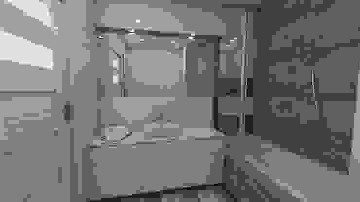 Wizualizacja z ciemną mozaiką Minimalistyczna łazienka od Katarzyna Wnęk Minimalistyczny