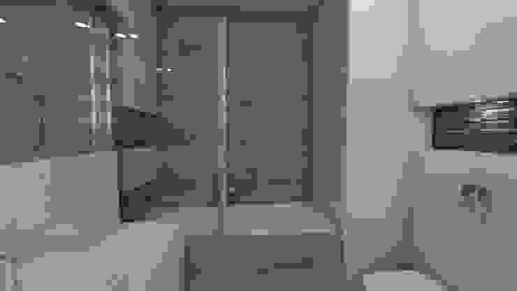Wizualizacja widok na zabudowę wanny Minimalistyczna łazienka od Katarzyna Wnęk Minimalistyczny