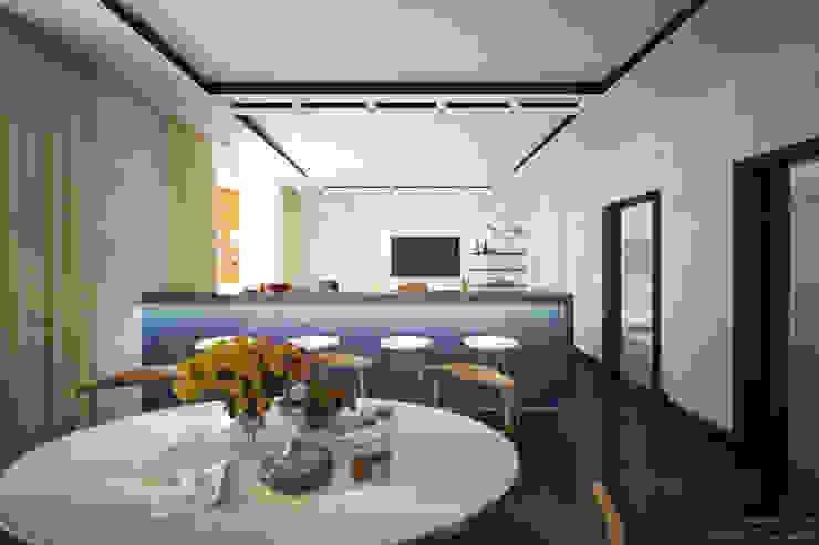 """Дизайн кухни-гостиной в современном стиле в ЖК """"Янтарный"""" Гостиная в стиле модерн от Студия интерьерного дизайна happy.design Модерн"""
