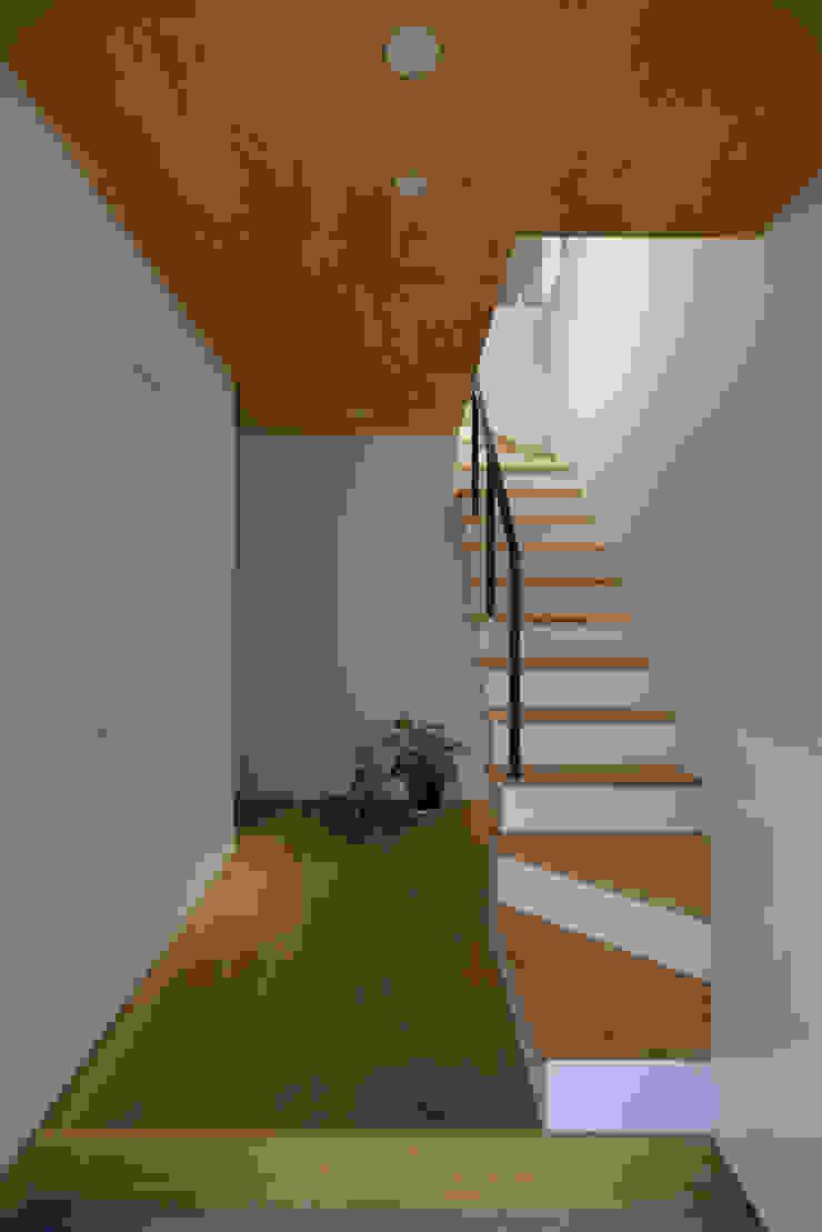 玄関から2階リビングへとつながる階段 北欧スタイルの 玄関&廊下&階段 の 株式会社ブレッツァ・アーキテクツ 北欧
