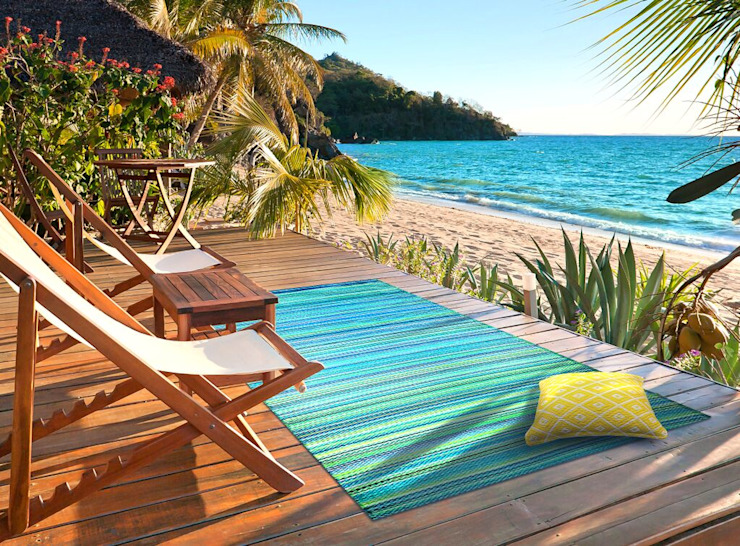 Blue Green Stripe plastic outdoor rug: modern  by Green Decore, Modern Plastic