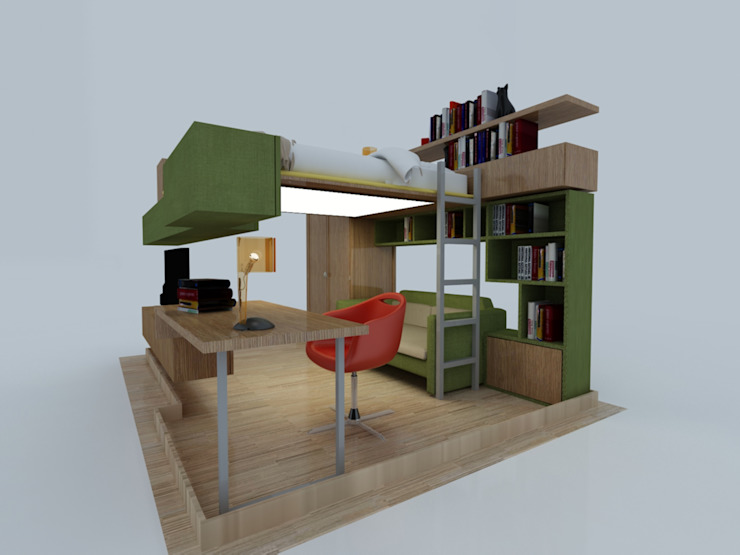 PRATIKIZ MIMARLIK/ ARCHITECTURE – ZD House Teenage Room: minimalist tarz , Minimalist Orta Yoğunlukta Lifli Levha