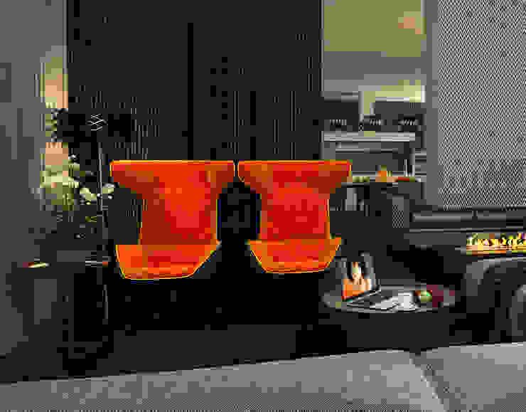 Interior of an apartment house Гостиная в стиле минимализм от ALEXANDER ZHIDKOV ARCHITECT Минимализм
