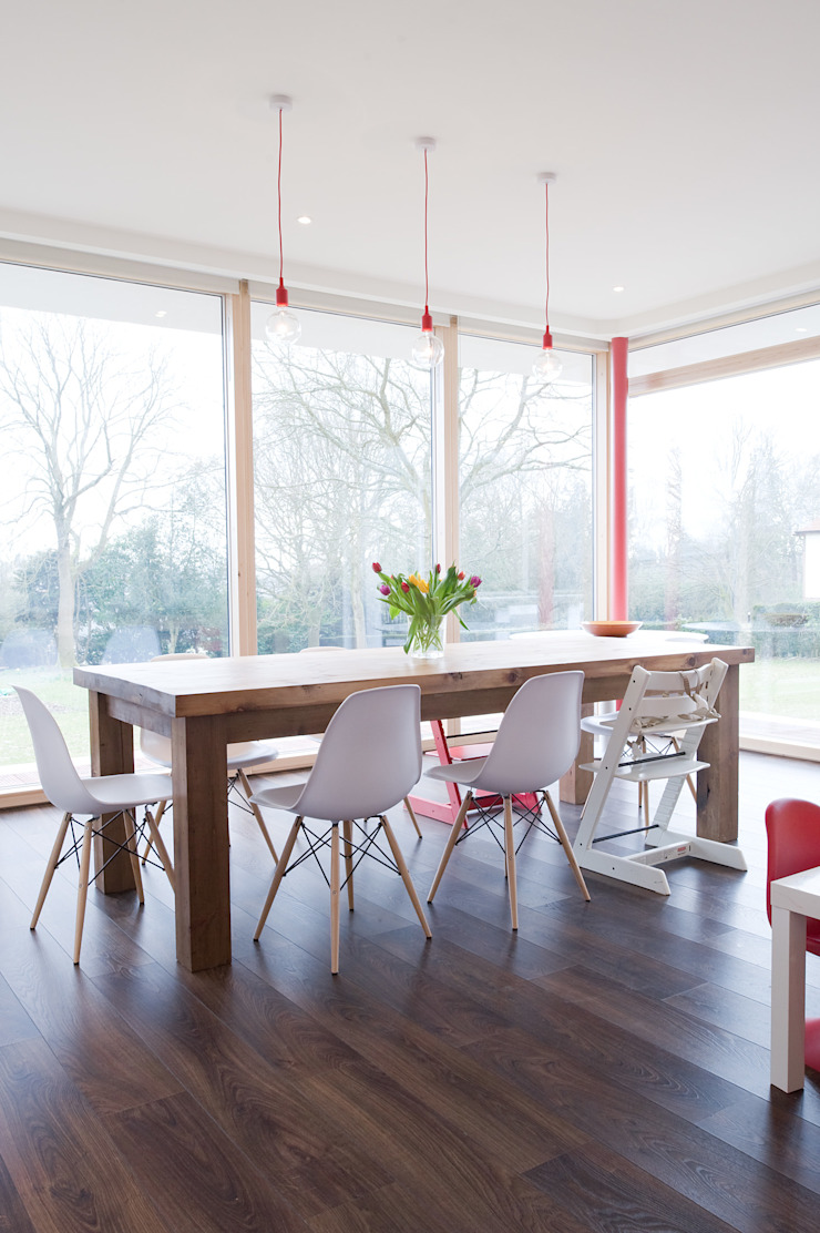 Family dining The Chase Architecture Modern dining room Glass Transparent