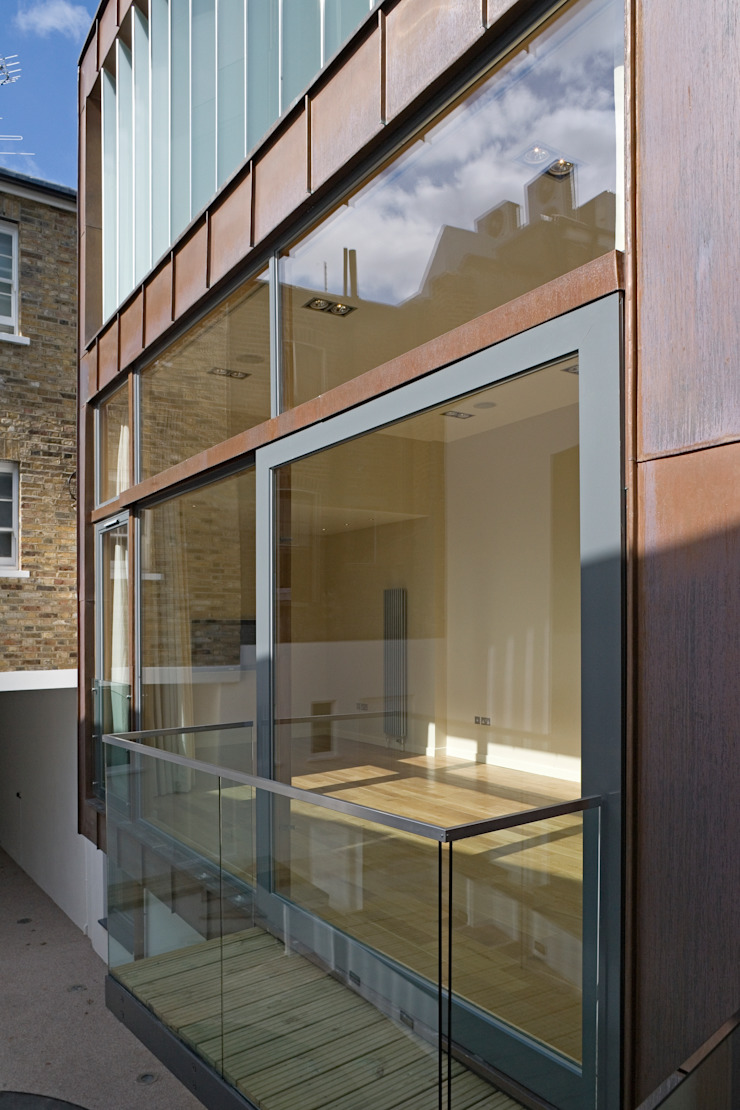 Living room facade The Chase Architecture Modern Terrace Glass Brown